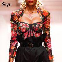 Giyu Flaral Stampa Camicetta Donne Sexy Square Neck Blusas Camicia manica lunga 2021 Autunno Vintage Abbigliamento Abbigliamento moda Casual Tops Camicette da donna