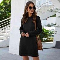 Leosoxs Autumn Winter O Neck Long Sleeve Women's Sweatshirt Dress Fashion Solid Loose Pocket Ladies Mini Vestidos 210611