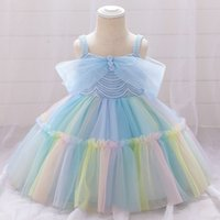 Rainbow Christmas Dress for Baby Girl Edge Clothing For Little Girls Off Shoulder Princess Party Gown Clothing Lolita Vestido 210506
