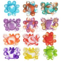 Party Favor Finger Bubbles Solid Tie Dye Rubber Octopus Crab Sensory Push Bubble Key Ring Fidget Toys Puzzle Toys Keychain Squeeze Toy Kids Children Gift