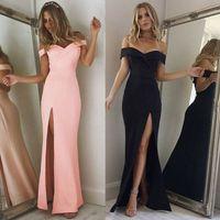 Hot Donne off Abiti a spalla Casual Long Maxi Sera Party Beach Dress Long Dress Solid Pink Black V-Neck Summer Costume
