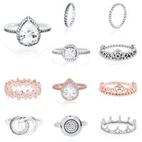Authentic silver color Princess Tiara Crown Sparkling Love Heart CZ Rings for Women Engagement Jewelry Anniversary gift