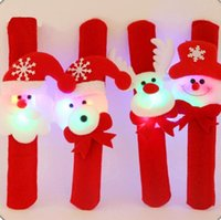 Schneemann Bär Elk Santa Claus Pailletten LED leuchtende Slap Armband Armreif Weihnachtsdekoration Pat Kreis Hand Ringe Weihnachtsgeschenk WJL0073