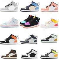 Çocuk Basketbol Ayakkabıları Jumpman 1s Erkek Şeker Renkli Yüksek Ob Obsian Kenar Glow UNC Işık Duman Gri Pembe Kuvars Karanlık Mocha Gölge Volt Altın Gençlik Çocuklar Sneakers