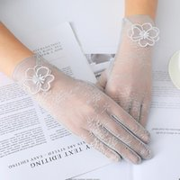 Five Fingers Gloves Women Summer Silk Sunscreen Touch Screen Lace Flower Thin Breathable Skid Driving Anti-UV Female Elegant