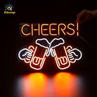 Custom 3D Neon Beer Sign Coffee Open Cheers Guitar Shape Lights Indoor Night Light For Xms Bar Party Room Home Decor