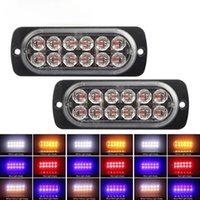 자동차 깜박이 조명 LED 손전등 오토바이 스트로브 빛 12V 24V 스트로 비스 자동 경찰 Flasher 레드 블루 앰버 2pcs
