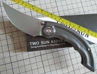 TwoSun Knives 14C28N Outdoor Titanium Flipper Fast Open Folding Knife TS325