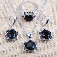 Earrings & Necklace For Women Wedding Many Colors Top Zircon Silver Color Jewelry Set Ring With Pendant TZ0245