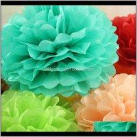 Kränze Festliche Garten Drop Lieferung 2021 30 cm (12 Zoll) Papier Pompom Tissue Flower Bälle für Home Hochzeit Party Auto Dekoration Mariage Crafts