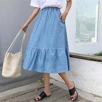 Skirts Neophil 2021 Preppy Style Women Denim Mid-Calf High Waist Plus Size Faldas Larga Button Jean School Skirt S1731
