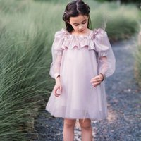 Girls birthday party dresses kids beaded falbala square double sleeve princess dress autumn children lace tulle clothing Q2857