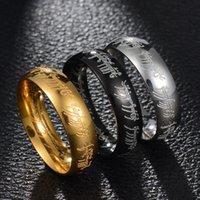 Titanium stalen 3D-snijwerk Lord of the Rings Lovers King heren- en damesstaart Persoonlijkheid Corrosie Ring