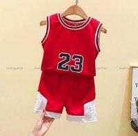 Verão bebê menino menina conjuntos de roupas de basquete veste + calças calças filhos filhos 2 pcs designers roupas crianças