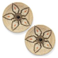 Mats & Pads Wall Basket Decor Set Rattan Wicker Art Woven Fruit Seagrass Decorative Bowl Hanging