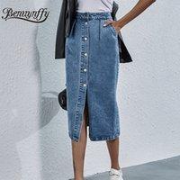 Benuynffy 싱글 브레스트 무릎 길이 데님 스커트 여성 가로복 캐주얼 포켓 하이 허리 스트레이트 청바지