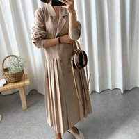 Women's Trench Coats LANMREM 2021 Summer Fashion Women Dress Loose Large Size Suit Coat Casual Turn-down Collar Double Breasted Pleated
