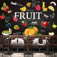 Wallpapers Custom Modern Juice Shop Industrial Decor Wallpaper Fruit Black Background Wall Papers Mural Papel De Parede 3d