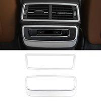 Audi Q7 4 M 2016-2020 için Araba Aksesuarları Arka Koltuk Geri Hava Havalandırma Paneli Trim Çerçeve Sticker Kapak İç Dekor Gümüş Kalıplama