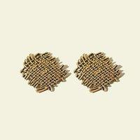 S2283 Fashion Jewelry Vintage Metal Woven Texture Stud Earrings S925 Silver Post Earring