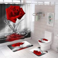 Shower Curtains 4piece Red Rose Bathroom Non-slip Mat Set Durable Waterproof Curtain Pedestal Rug Lid Toilet Cover Bath Rugs
