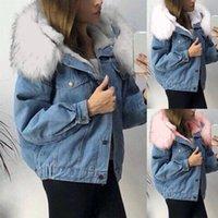 Women's Jackets Winter Jacket Women 2021 Fashion Denim Hooded Cardigan Faux Fur Collar Thick Warm Jeans Coat Plus Velvet Streetwear