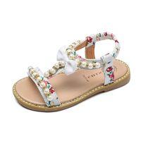Девушки сандалии летняя обувь шлепанцы детские пляжные принцессы горестон бисером ребенка гладиатор