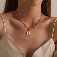 Pendant Necklace double chain irregular round head fashion lady simple