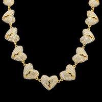 Hip Hop Iced Out Chian Pendants Collana Collana Gioielli Mens Womens Gold Silver Rottore Cuore Collane