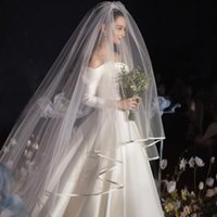 Brautschleier Super lange 6 Meter Doppelschicht Einfache Satin-Bandkante 3m Breite Schleier Kopfschmuck Hochzeitszubehör