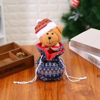 Christmas Knitted Apple Bag Personalized Christmas Tree Decoration Ornaments Gnomes Baubles Children Kids Candy Gift DHE9820