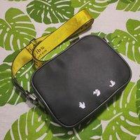 2021ss ماركة الرجال البسيطة قبالة قماش الأصفر قماش حزام عالية أبيض الكتف حقيبة الصدر حقيبة الخصر حقائب متعددة الأغراض حقيبة كامز أكياس رسول المرأة