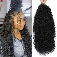 저에게 합성 크로 셰 뜨개질 묶음 확장 곱슬 머리가 중간에 곱슬 머리를 느껴보세요.