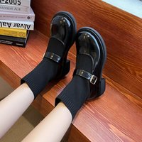 Boots 2021 Women Autumn Winter Designer Casual Low Heel All-match Weave Sock Sweet Buckle Strap Cosy Flat Shoes Pumps