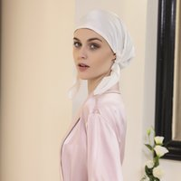 beanie Hat 2 Pieces Real Silk Night Sleeping Cap for Women Bonnet Smooth Soft with Elastic Ribbon Care Long Hair (Fresh Style) 1951 V2