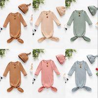 Säuglings-Schlafsack Neugeborene Baby Swaddle Decke Hut 2 Stück Wrap Kleinkind Baumwolle Cartoon Sleeping Sacks Fotografie Prop 720 x2