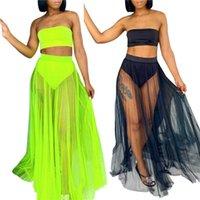 Women's Swimwear Women Sexy Swimsuits Sets 3Pcs Swimsuit Strapless Bandeau Tops+ Swim Brief+Mesh Pleated Maxi Skirt Cover Female Bikini Set