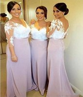 2021 Applique Aline Prom Dress Long Sleeve Lace V-neck Bridesmaid Dresses Wedding Party Gowns Buttons Back