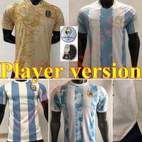 2021 2022 Copa America Player-Version Argentinien Home Fussball Jersey 21 22 Messi Dybala Aguero di Maria Maradona Away Football Shirt Männer
