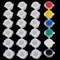 Panelas de tinta tira 5ml / 0.17oz mini vazio tinta plástica xícaras de armazenamento de pigmento 6 xícaras / tira anti-vazamento para as salas de aula de escolas pinturas