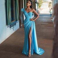 Blue One Shoulder Mermaid Evening Dresses High Sexy Side Split Sequins Prom Party Dress Ruched Satin Robe De Mariée