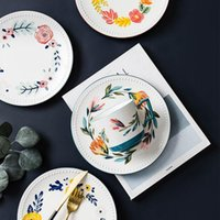 Dinnerware Sets Hand-painted Ceramic Tableware Pastoral Cups Household Western Dishes Deep Soup Plates Rice Ramen Bowls Main Dish Steak
