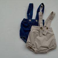 Shorts 8556 Children's Pants Baby Belt Autumn 2021 Simple All Match Boys Suspender Pant Jeans Short 0-2Year Girl