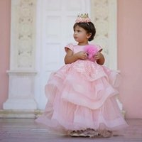 Girl's Dresses Formal Kids Pink Tiered Flower Girl For Wedding Baby Birthday Party Ball Gown Toddler Holiday Dancing Celebration Wears