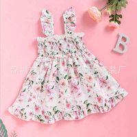 2021ins summer girls lovely little broken flower pink princess dress suspender