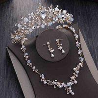 Schmucksets Noble Kristallperlen Perle Brautgold Strass DIADEM TIARAS Halskette Ohrringe Barock Krone Hochzeitset