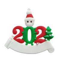 14Styles 2021 Christmas Decoration Resin Quarantine Ornaments Family of 1-7 Heads DIY Tree Pendant with Rope Q121