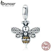 Bamoer Oryginalna 925 Sterling Silver Bee Crystal Fit Kobiety Charm Bransoletki DIY Biżuteria Girlfriend Gift SCC821