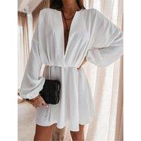 Casual Dresses Foridol Deep V Neck Long Sleeve Party Dress Women Spring Autumn White Short Plus Size Robe Black Loose Big Vestidos