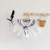 2021 New Summer Baby Girl Bodysuit Blue White Patchwork Long Sleeves Jumpsuit with Cap Newborn Cute Style Kids Clothes E1067
